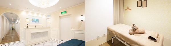 アリシアクリニック渋谷院の受付と施術室