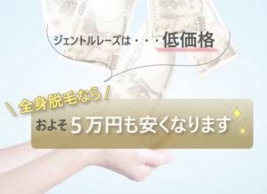 ジェントルレーズの特徴④ジェントルレーズは・・・低価格 全身脱毛ならおよそ5万円も安くなります✨