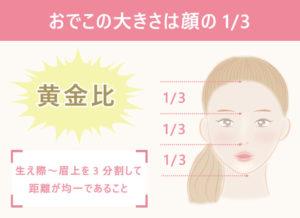 《おでこ脱毛で理想的なおでこを手に入れる方法》■バランス(黄金比)を意識する 生え際~眉上を3分割して距離が均一であること