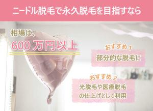 ニードル脱毛で永久脱毛を目指すなら 相場は600万円以上。おすすめ1,部分的な脱毛に。 おすすめ2,光脱毛や医療脱毛の仕上げとして利用。