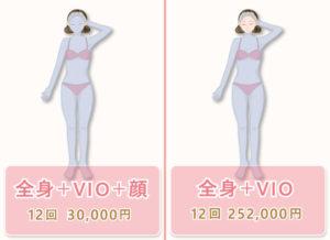 【全身脱毛+VIO+顔】12回300,000円 【全身+VIO】12回252,000円