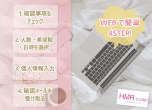 WEBで簡単4STEP! 1.確認事項をチェック 2.人数・希望院・日時を選択 3.個人情報入力 4.確認メールを受け取る