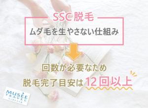 SSC脱毛はムダ毛を生やさない仕組み のため回数が必要。脱毛完了目安は12回以上。
