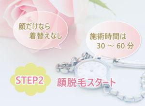 STEP2 顔脱毛スタート 顔だけなら着替えは必要ありません。施術時間は30~60分。